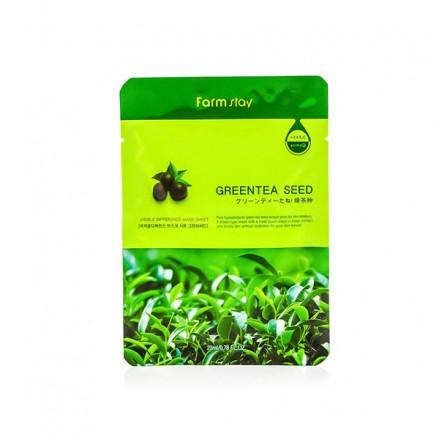 Тканевая маска с натуральным экстрактом семян зеленого чая, 23мл. FarmStay.